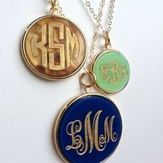 Vineyard Monogram Necklaces - Tiger's Eye, Mint, Navy Blue:
