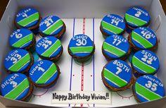 will someone please make me Canucks cupcakes for my birthday? Hockey Birthday, Hockey Party, 9th Birthday, Birthday Cakes, More Cupcakes, Cupcake Cakes, Hockey Cupcakes, Buttercream Cake Decorating, Ice Hockey Teams
