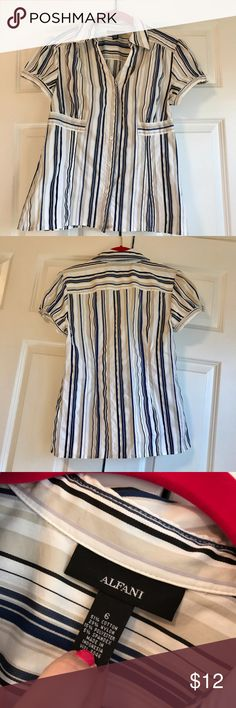 Alfani Top Multi-Colored Alfani Short Sleeve Top. Size 6. EUC. Super cute! Great spring/summer piece. Smoke free home. Alfani Tops Button Down Shirts