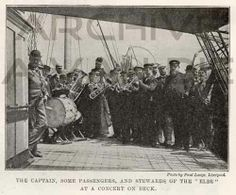 The captain, some passengers and stewards of the Elbe at a concert on deck. Published by The Illustrated London news, feb 9, 1895.