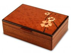 Handcrafted by artist and woodworker Mike Fisher, the Moon Flowers Valet Jewelry Box is nothing less than exce Handmade Jewelry Box, Small Jewelry Box, Wooden Jewelry Boxes, Slab Boxes, Wood Boxes, Custom Wooden Boxes, Jewelry Box Plans, Jewelry Box Makeover, Playing Card Box