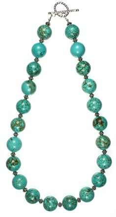 """Turquoise, Bali Silver, Sterling Silver and Silver Plate Findings, 19"""" Length N4525D"""