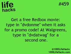 Free Redbox movie  1000 Life Hacks