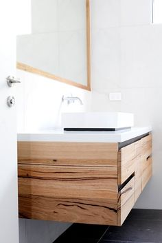 Tathra Floating Timber Bathroom Vanity by Bombora Custom Furniture. Modern, striking and functional, the Tathra floating timber vanity is the perfect. Timber Bathroom Vanities, Timber Vanity, Wooden Vanity, Bathroom Furniture, Bathroom Interior, Stone Bathroom, Vanity Bathroom, Wooden Bathroom Cabinets, Shelf Furniture