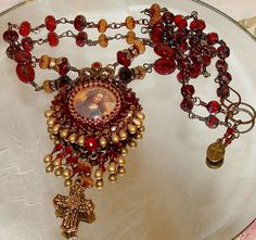 Mary bead embroidery pendant necklace Pamelia by pameliadesigns, $295.00