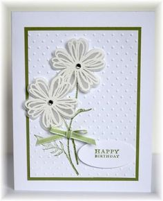 The card - stamped images are from SU. The flowers were stamped and embossed with white on vellum, then punched out. Colors are whit...