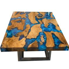 Teak & Blue Resin Inlaid Cracked Wood Coffee Table by Aire Furniture – Modish Store Resin Furniture, Vintage Furniture, Unique Furniture, Furniture Ideas, Diy Resin Table, Wood Epoxy Table, Resin And Wood Diy, Traditional Furniture, Contemporary Furniture