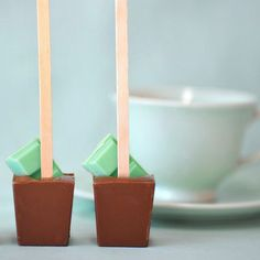 Vanilla mint hot cocoa on a stick. Stir in hot milk and enjoy!