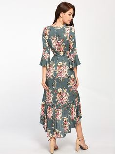 Shop [good_name] at ROMWE, discover more fashion styles online. Bell Sleeve Dress, Bell Sleeves, Sleeve Dresses, Hi Low Dresses, Summer Dresses, Tea Length Formal Dresses, White Ruffle Dress, Mother Of Groom Dresses, Dress P