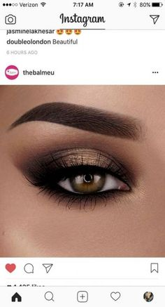 Golden Smokey eyeshadow, brown eyes, Smokey smokey eye make up,bronz eye make up Simple Eye Makeup, Cute Makeup, Gorgeous Makeup, Skin Makeup, Eyeshadow Makeup, Eyeshadow Brushes, How To Eyeshadow, Rock Makeup, Beauty Make-up