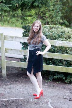 Striped Tee, Black Zip Skirt, Red Pump / Popbasic Wanderlust / hellorigby!