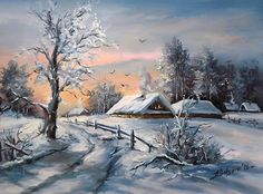 O-LUME-TACUTA-40X30-cm-prezentare Bob Ross Paintings, Paintings I Love, Winter Painting, Winter Art, Christmas Scenes, Christmas Art, Oil Painting Pictures, Art Pictures, Winter Scenery
