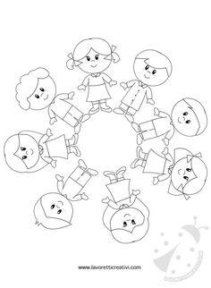 Bambini intorno al mondo da colorare | Lavoretti Creativi Earth Day Crafts, World Crafts, Pre School, Sunday School, Infant Activities, Activities For Kids, Kreative Jobs, Preschool Crafts, Crafts For Kids