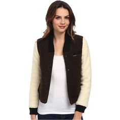Members Only Sherpa Baseball Jacket w/ Contrast Sleeves Women's Coat,... (87 CAD) ❤ liked on Polyvore featuring outerwear, jackets, bone, members only, members only jacket, brown jacket, long sleeve jacket and sherpa jacket
