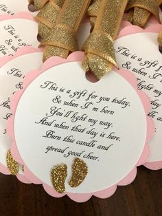 Pink and Gold Glitter Baby Shower Favor Tags * Barefoot Wine Party Favor . - Pink and Gold Glitter Baby Shower Favor Tags * Barefoot Wine Party Favor Tags * Pink and Gold Baby - Baby Shower Candle Favors, Baby Shower Favors Girl, Baby Girl Shower Themes, Girl Baby Shower Decorations, Baby Shower Princess, Baby Shower Gifts, Baby Shower For Girls, Baby Shower Souvenirs, Baby Shower Parties
