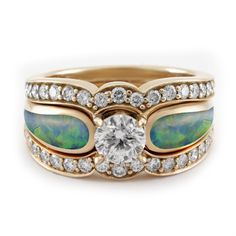 Unique Opal Engagement Ring in Rose Gold with Two Diamond Bands | The Alchemy Bench #bridaltransformed
