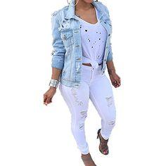 ea5d45bad6 VICVIK Womens Fashion Long Sleeve classic Denim Jacket Coat With Pockets  (L) at Amazon Women s Coats Shop