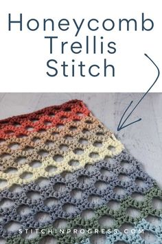 Crochet Honeycomb Trellis Stitch Tutorial - - Use the video and written tutorials to learn how to crochet the honeycomb trellis stitch. This stitch is an open stitch that is more structured than lacy. Crochet Stitches Free, Crochet Basics, Knit Or Crochet, Crochet Blanket Patterns, Learn To Crochet, Crochet Crafts, Free Crochet, Stitch Patterns, Knitting Patterns