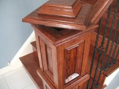 "Secret Compartment Newel Post. How neat would it be to hide a letter or something like that for future great-great-grandchildren. Leave a ""treasure map"" hidden in a spot only children would ever fit into to find. What an adventure that would be for them!"