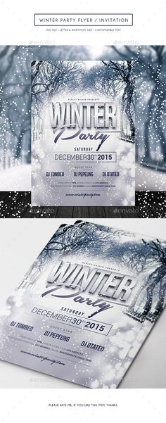 Winter Party Flyer /  Invitation Template PSD #design Download: http://graphicriver.net/item/winter-party-flyer-invitation/14070332?ref=ksioks