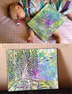 Mommy/baby art collaboration - Baby Finger Paints, Mommy paints what she sees.