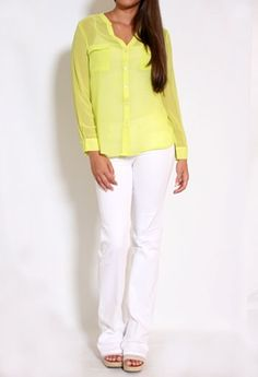 Private Gallery - Long Sleeve Sheer Button Down Top in lime $36.50