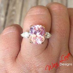 Light Pink Sapphire Moissanite Elongated Cushion Pear Engagement Ring, 3 Gem, 7ct, 12x10mm,Custom,Anniversary,14k 18k White Rose Yellow Gold - 18kWhite +Moissanite