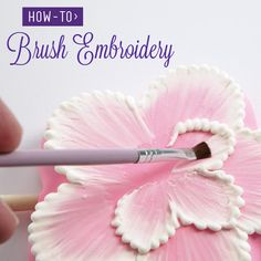 Brush Embroidery: Gentle brushstrokes add texture with the soft look of lace in this easy technique. Brush Embroidery: Gentle brushstrokes add texture with the soft look of lace in this easy technique. Decoration Patisserie, Dessert Decoration, Royal Icing Decorations, Cake Decorating Techniques, Cake Decorating Tutorials, Cake Tutorial, Flower Tutorial, Cake Icing, Cupcake Cakes