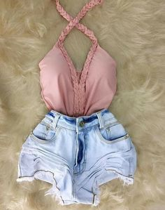 Pin by edu_camz on Estilo Femenino in 2019 Teenage Outfits, Teen Fashion Outfits, Girly Outfits, Short Outfits, Outfits For Teens, Girl Fashion, Fashion Shorts, Cute Summer Outfits, Cute Casual Outfits