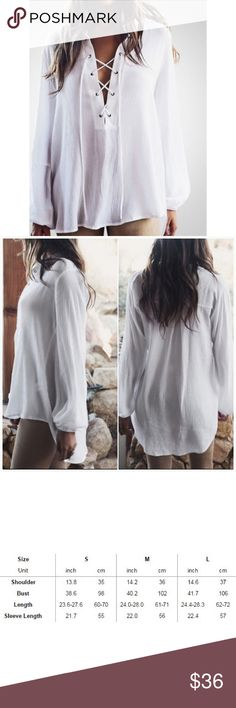 """Lace-Up Hi-Low Chiffon Blouse Lace up, v-neck. Fabric is chiffon and very flowy. High / Low (back is 4"""" longer than front). Elastic at wrists of sleeves.  Lace/ string is extra long and can be trimmed to size you want. See last photo for sizing.  #7RW81297 Tops"""