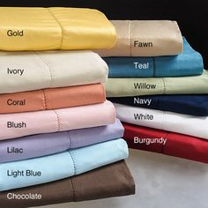 Hemstitch 400 Thread Count Solid Pillowcases (Set of 2) Nice colors. A little more vibrant that most sheet colors I've seen and a heck of a lot less expensive.