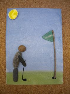 Stone Pebble Art Painting Picture Made with Beach Finds Sunny Golf Day