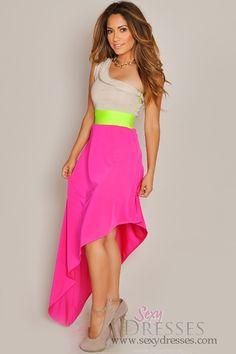 Asymmetrical+Color+Bright+Angled+Maxi+Dress