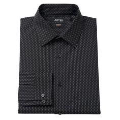 Men's Apt. 9® Slim-Fit Stretch Spread-Collar Dress Shirt, Black