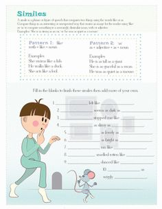 Fifth Grade Composition Worksheets: Similes for Kids