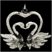 Swans With Heart Spun Glass Ornament  border=