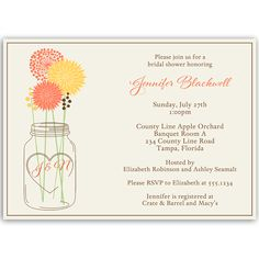 """Invite guests to your bridal shower with this country wedding themed invitation featuring an initialed mason jar holding orange and yellow flowers.  To customize the jar with the couple's initials, please put them in the """"Notes to Designer"""" box."""