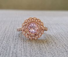 Bezel Set Pink Morganite and Diamond Ballerina by PenelliBelle