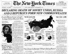 The dissolution of the Soviet Union occurred on December 26 officially granting self-governing independence to the republics of the union of soviet socialist republics. It was a result of the declaration number of the supreme soviet of the Soviet Union. Newspaper Front Pages, Newspaper Design, Old Newspaper, World History Facts, History Projects, History Class, Newspaper Headlines, Pop Culture Art, New Times