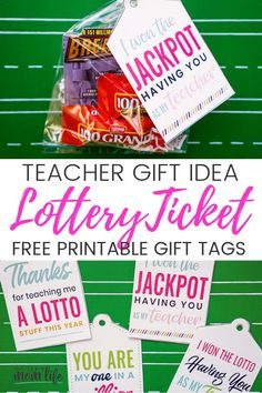 Lottery Ticket Teacher Gift Idea : Tell your teacher you hit the jackpot with this fun gift idea! Free Lottery Ticket gift tags available in four ways. Teacher Gift Tags, Teachers Day Gifts, Best Teacher Gifts, Teacher Valentine, Your Teacher, Teacher Appreciation Gifts, Lottery Ticket Gift, Free Printable Gift Tags, Free Printables