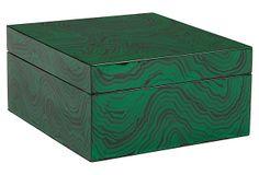 """10"""" Malachite-Painted Box"""
