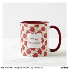 Red Poinsettia with gold swirls Season's Greetings