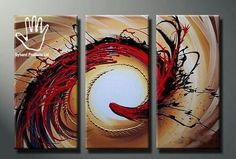 3 Piece The Twirl  Abstract  Painting. Strong African hand painting made on canvas. Suitable for living rooms, dining areas, corridors or offices. suitable for red colored walls, cream, white or yellow. Size: 1.3M wide by 0.7M height. At www.nuerasamp.com.