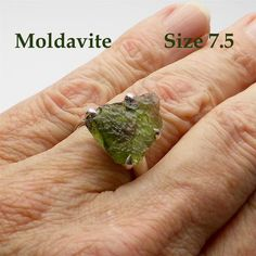 Raw Natural Moldavite Ring | 925 Sterling Silver  | US Size 7.5 | Genuine Moldau Valley | Tektite |  Scorpio Stone | Crystal Heart Australia since 1986