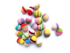 Crochet easter items | Items similar to Crocheted Easter eggs ornaments, amigurumi, colorful ...