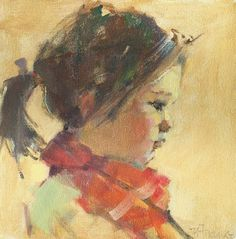 Red Scarf by Nancy Franke Oil ~ 10 x 10 Painting People, Figure Painting, Art Plastique, Portrait Art, Face Art, Beautiful Paintings, Oeuvre D'art, New Art, Watercolor Paintings