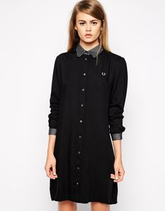 Image 1 of Fred Perry Long Sleeved Shirt Dress