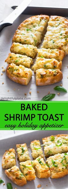 This baked shrimp toast features rich and creamy shrimp mixture on top of crispy bread. If you are looking for a quick and easy appetizer for your next party, give this a try. appetizers quick and Easy Baked Shrimp Toast Seafood Appetizers, Seafood Recipes, Cooking Recipes, Holiday Appetizers, Chinese Appetizers, Baked Shrimp Recipes, Brunch Appetizers, Appetizer Dessert, Best Appetizer Recipes