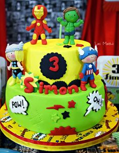 Check out this cake at a superhero birthday party! See more party planning ideas at CatchMyParty.com!