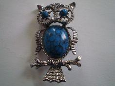 Vintage Retro Turquoise Owl Pin